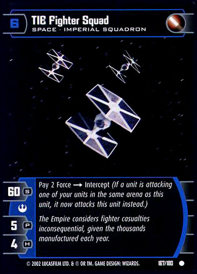 tie fighter squad card