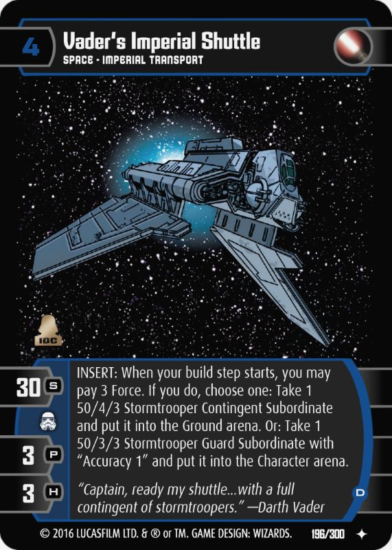 Star Wars TCG ESB Vader/'s Imperial Shuttle A